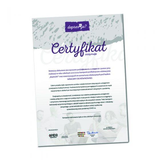 certyfikat depresja