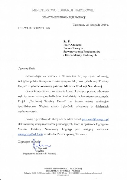 ZTU 2020 pod patronatem honorowym MEN! Pismo z Ministerstwa Edukacji Narodowej